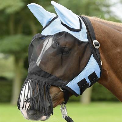 Maska proti mouchám Busse Fly Cover třásně Pony světle modrá
