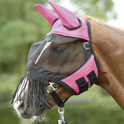 Maska proti mouchám Busse Fly Cover třásně Pony růžová
