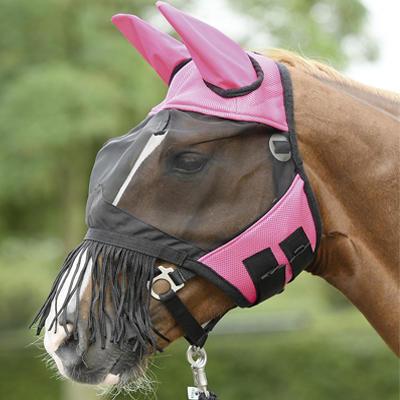Maska proti mouchám Busse Fly Cover třásně Full růžová
